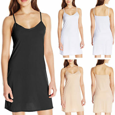 Womans Solid Color Sling Slim Summer Casual Round Neck Full Slip Dress Size 6-16