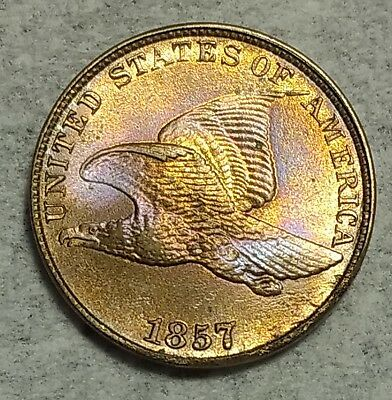 Brilliant Uncirculated 1857 Flying Eagle Cent! Gorgeously toned piece!
