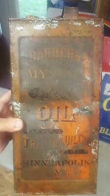 Super Rare Barber's Mystic Oil Can, Trader's Oil Company Minneapolis Minnesota