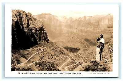 Mt. Carmel Switchbacks Above Great Arch Zion National Park Utah UT RPPC DOPS C4
