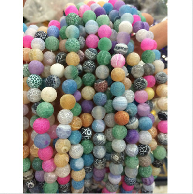 """6-12mm Multicolor Dream Fire Dragon Veins Agate Gems Loose Beads Strands 15"""""""