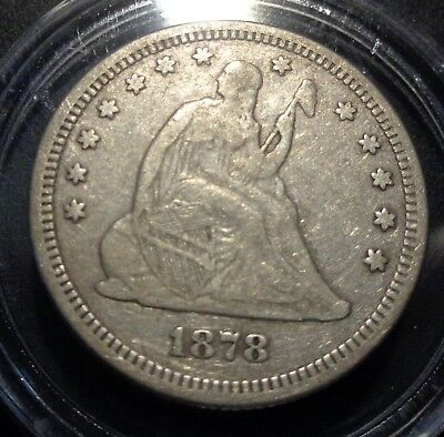 Nice original weaker struck Very Fine VF 1878 Seated liberty silver 25C quarter