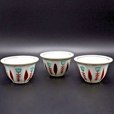 Lot of 3 Small Tea Sake Cups Porcelain China Teal Orange 1.5 Oz 1.75 In H Signed