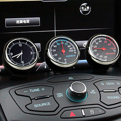 Top 1 Set/3 PCS Car Thermometer Hygrometer Quartz Clock For Dashboard Ornaments