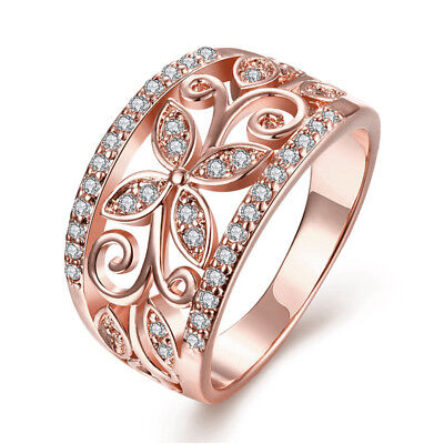 Fashion Women Wedding Rings Rose Gold Filled Jewelry White Sapphire Size 6-10