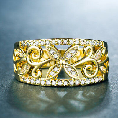 Leaf 18k Yellow Gold Plated Women's Wedding Rings White Sapphire Size6-10