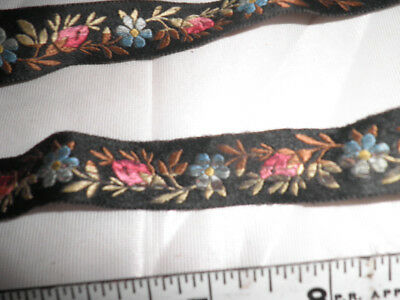 Antique 1 Yard Floral Machine-Embroidered Ribbon