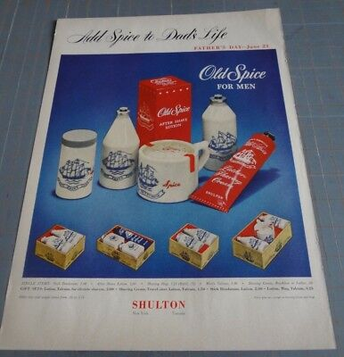 Vintage Advertisement Old Spice Man Father's Day Ad 50s 1950s