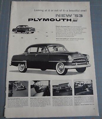 Vintage Advertisement Plymouth Car Ad 50s 1950s