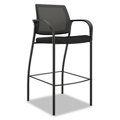 Ignition Series Mesh Back Cafe Height Stool, Black Fabric Upholstery