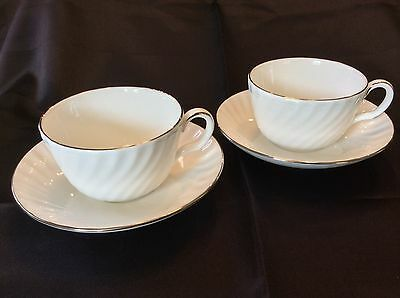 Minton Eternity Teacups & Saucers - New - White W/platinum Trim - Set Of 2