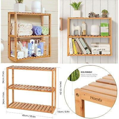 Bamboo Wall Mounted Storage Shelf Display Rack Book Organiser Bathroom Kitchen