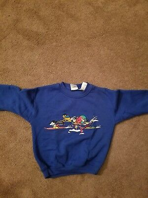 Disney Kids Size S 4/6 Mickey & Gang Blue Embroidered Sweatshirt VGUC Vintage