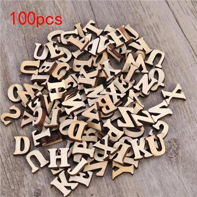 100pcs Wooden Letters Alphabet Wooden Embellishments Crafts DIY Decor