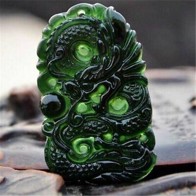 Natural Black Green Jade Chinese Carved Dragon Phoenix Amulet Necklace Pendant