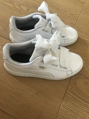 Girls White Puma Trainers Size 2