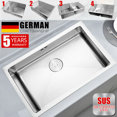 304 Stainless Steel Single/Double Kitchen Sink Topmount Undermount Laundry Bowl