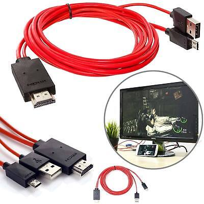 2M Android MHL Micro USB vers HDMI Câble 1080p HDTV Plomb Rouge Pour Samsung LG