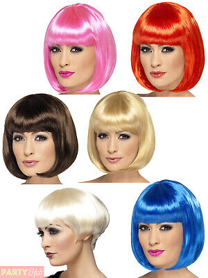 Ladies 12 Inch Partyrama Wig Adults Red Pink Blonde Brown Blue Bob Fancy Dress