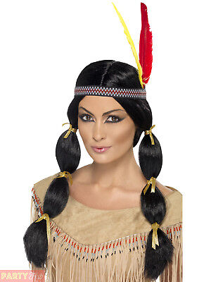 Ladies Indian Wig Adults Native Pocahontas American Fancy Dress Accessory
