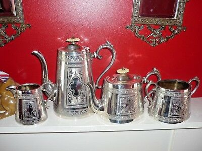 A beautiful antique silver plated tea set with embossed patterns - A1 condition