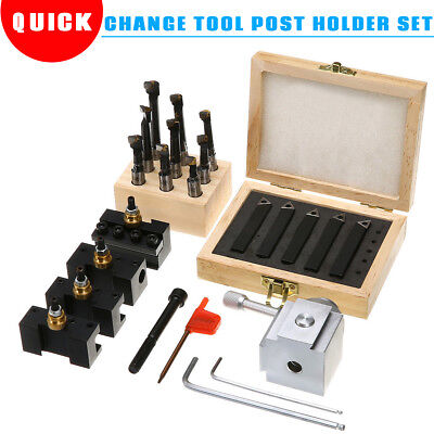 Mini Quick Change Tool Post Holder Set + 3/8'' Boring Bar + 5x Indexable 3/8''