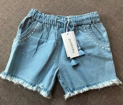 Pure Baby Girls Fringed Shorts Size 3 Years RRP$39.95
