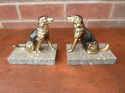 Pair Of French Vintage/ Art Deco  Bronzed Spelter Sitting Dog On Marble Bookends