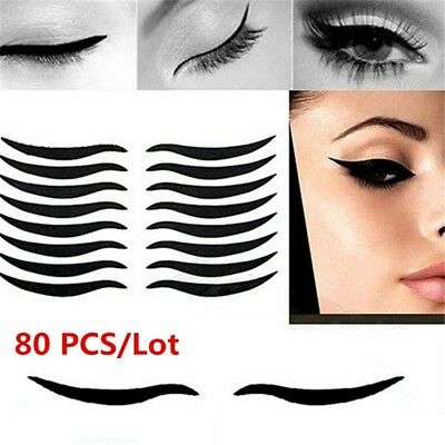 80pcs/lot Cat Temporary Eyeliner Eyeshadow Sticker Eye Tattoo Makeup Cosmetic