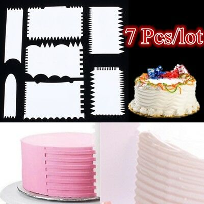 7 PCS Cake Scraper Cake Edge Decorating Tool Scrappers Cutters Smoother Tool Set