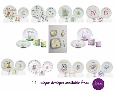 Personalised Children's Breakfast Dinner Set Boy Girl Plate Bowl Mug 12 Designs