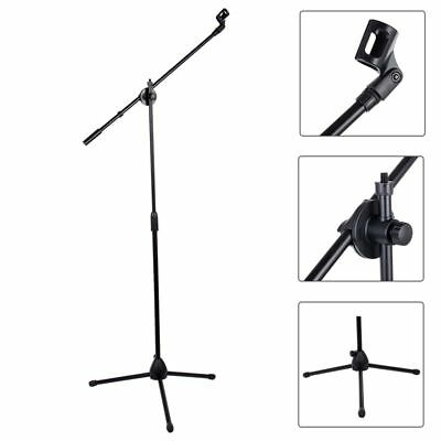 Telescopic Boom Microphone Stand Adjustable Mic Holder Tripod Two Clip 1to2 New