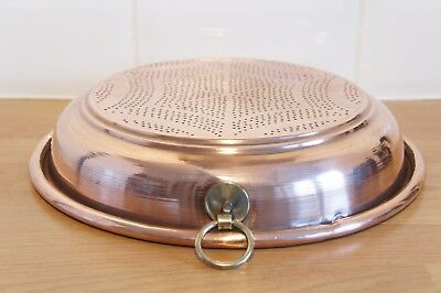 Vintage Copper Sieve, Large Round, Brass Ring, Star Design, Colander, Strainer.