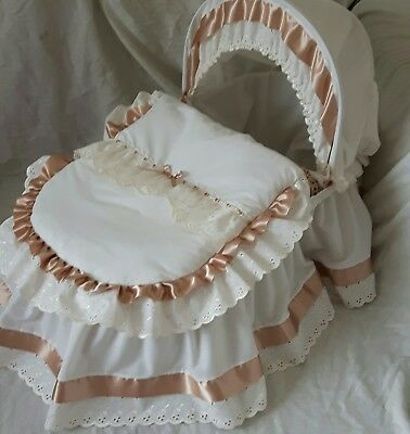 Cream With Broderie Anglaise And Ecru Satin Moses Basket Cover Set By Babyfanzon