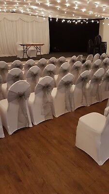 100 Wedding chair covers and Gun Metal Grey sashes used once