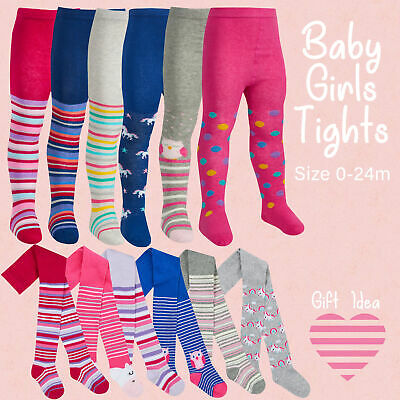 Baby Girls Cotton Rich Tights 3 Pack Toddler Patterned Bunny Unicorn Striped
