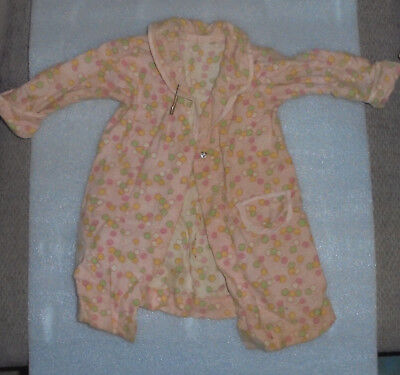 Vintage Doll Clothes 1940s 1950s Pink Polka Dot Flannel Nightgown
