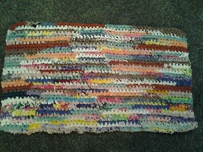 Vtg HAND MADE OLD FASHION CROCHETED BRAIDED RAG RUG VIBRANT approx. 29 X 17""