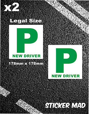 x2 P PLATE Stickers Vinyl - DVLA Legal size - New Drivers Self Adhesive SAFETY