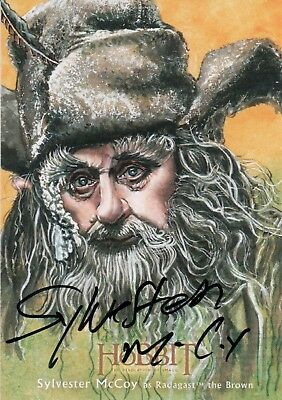 The Hobbit The Desolution Of Smaug, Sylvester McCoy Illustration Autograph Card