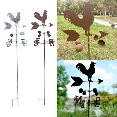 Metal Weather Vane / Wind Wheel Garden Stake Rooster Ornament Decor
