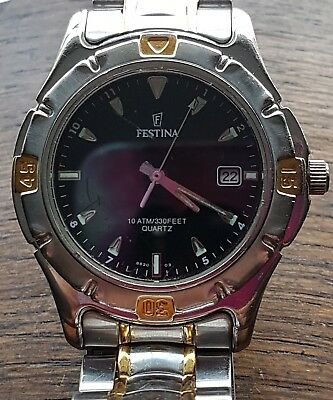 Festina Vintage Swiss Made Quality Quartz Mens Watch All Stainless Fully Working