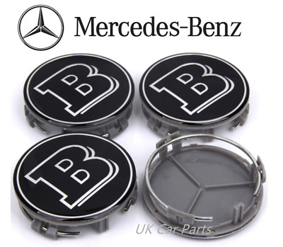 4 x Mercedes Benz Chrome Brabus Emblem Alloy Wheels Centre Hub Caps 75mm Black