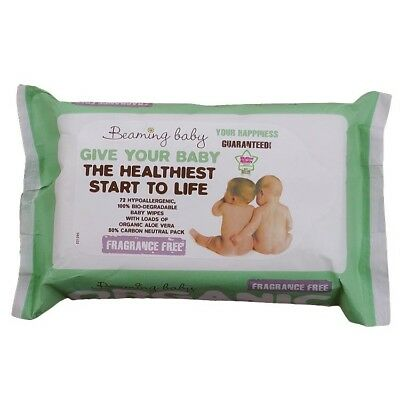 Beaming Baby biodegradable baby wipes - Fragrance Free - Vegan - 72 Wipes