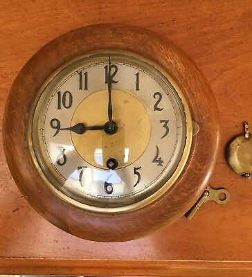 Antique Hand Made Round Oak Wall Clock Signed D R # 72
