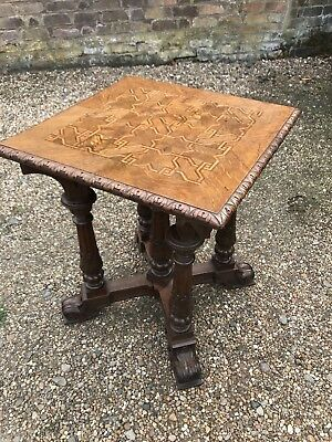 Superb Victorian gothic , parquetry topped oak Occasional/centre table