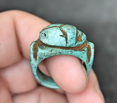 Antique Egyptian stone  Scarab Faience Galss Ring