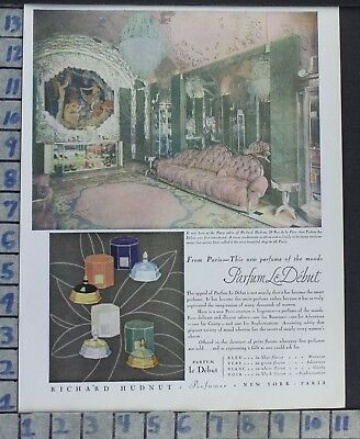 1928 Paris Richard Hudnut Perfume Cologne Interior Design Vintage Art Ad  Cd86