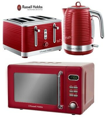 Microwave Kettle and Toaster Set Russell Hobbs 4 Slot Toaster & Jug Kettle Red