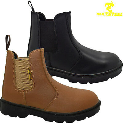 9c80e6571b3 Mens Leather Dealer Lightweight Chelsea Steel Toe Cap Safety Boots Work  Shoes Sz